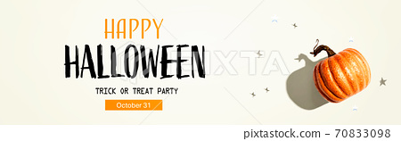 Halloween party banner with a pumpkin and small stars 70833098