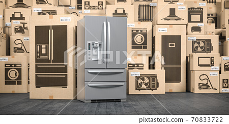 Refrigerator in warehouse with household appliances and kitchen electronics in boxes. Online purchase, shopping  and delivery concept. 70833722