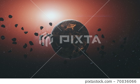 3d animation of space meteorites rocks silhouette against rotating Earth planet by red sun light 70836066