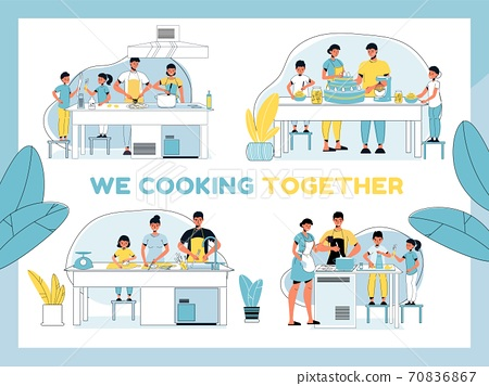 Parent kid best culinary team cooking together set 70836867