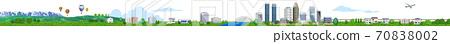 주택과 건물의 거리 가로 3D 일러스트 70838002