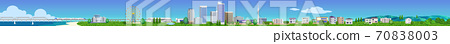 Horizontal 3D illustration of the cityscape of houses and buildings 70838003