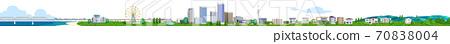 주택과 건물의 거리 가로 3D 일러스트 70838004