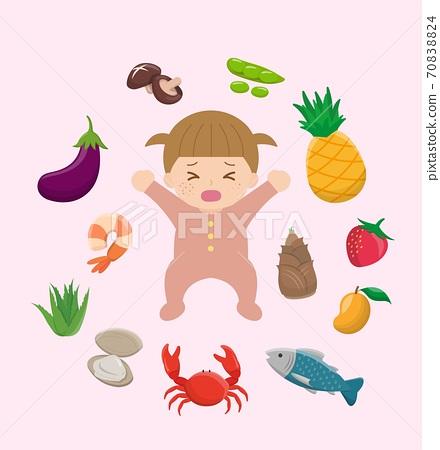 女嬰發癢和過敏的食物:茄子,蝦,蘆薈,蛤,蟹,魚,芒果,筍,草莓,鳳梨,豆莢,豆碗,蘑菇的卡通漫畫插 70838824