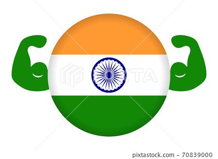 強印度的形象(圓形印度國旗和二頭肌) 70839000