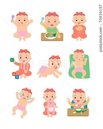 可愛的開心女生嬰兒日常生活,嬰兒尿布,爬行的嬰兒,吃嬰兒麵條,卡通漫畫插圖 70839197