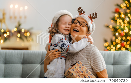 family celebrating Christmas 70840720