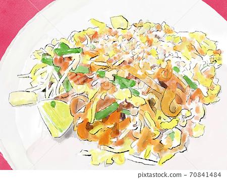 Thai food) Pad Thai watercolor hand drawn illustration 70841484