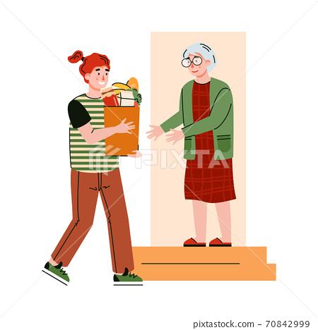 Girl delivers food at home for elderly during quarantine a vector illustration 70842999