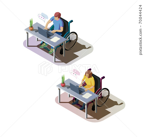 Invalids in wheelchair are working on computer 70844424