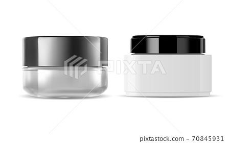 Glass cream jar. Cosmetic bottle. Transparent 70845931