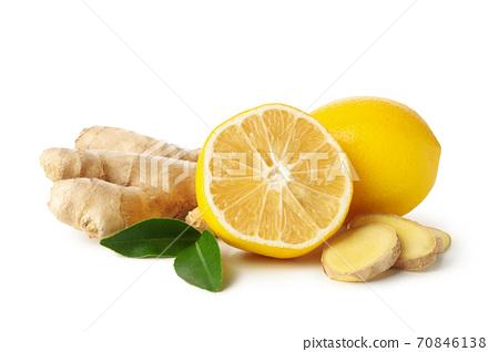 Fresh ginger and lemon isolated on white background 70846138