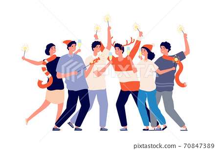People with sparklers. Friend night party, christmas company on corporate festive. Group men woman celebrating new year vector illustration 70847389