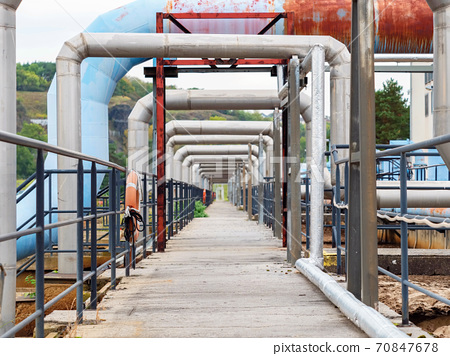 Steel water pipes and air tubes at waste water tanks 70847678
