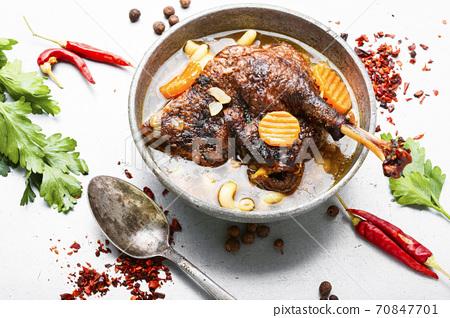 Appetizing goose soup 70847701