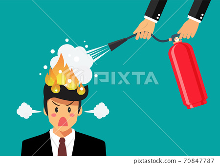 Angry businessman with head on fire gets help from man with extinguisher 70847787