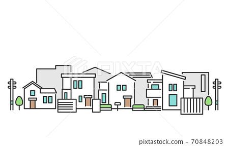 교외의 주택가를 이미지 한 거리 풍경 그림 소재 70848203