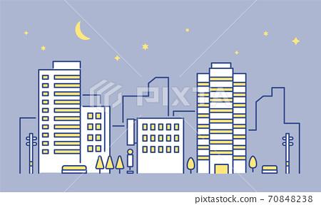 빌딩이나 사무실이있는 도시의 야경 이미지 일러스트 소재 70848238