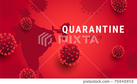 India map with covid-19 virus concept. Pandemic Coronavirus outbreak covid-19 quarantine. 70848958
