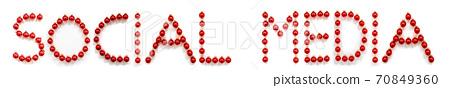 Red Christmas Ball Ornament Building Word Social Media 70849360