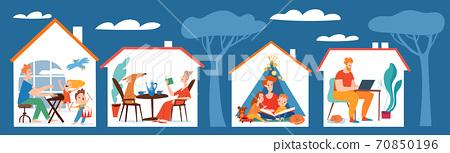 Stay home vector quarantine family isolation illustration 70850196