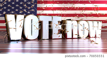 Silver Word Vote on the American flag with shiny confetti, American presidential election concept. 70850331