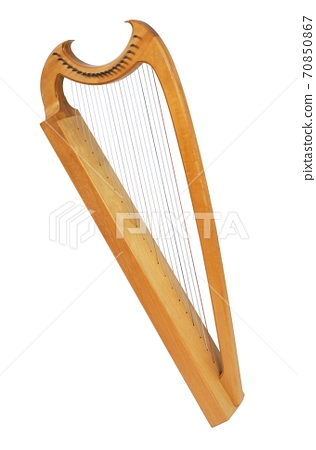 classical musical instrument harp isolated on a white background 70850867