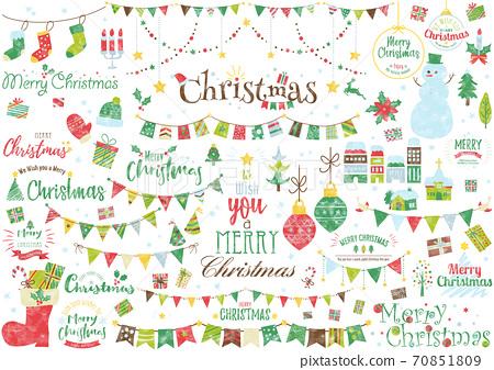 水彩聖誕節插圖和徽標 70851809