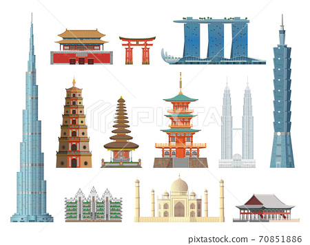 Asian landmarks. Flat color historical city buildings and constructions, cultural tourist excursions places. Hong Kong and China, India and Japan, Thailand and Korea vector icons collection 70851886