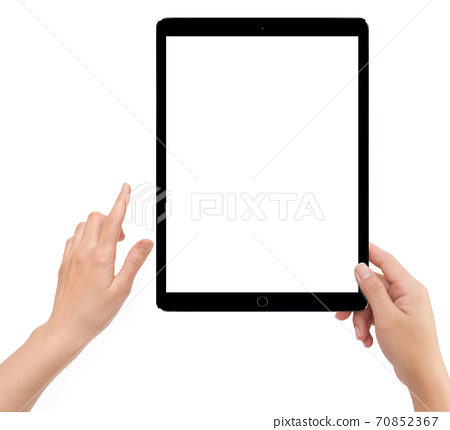 Isolated human left hand holding black tablet computer 70852367