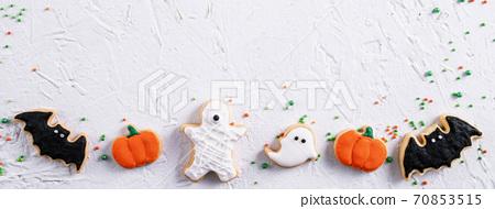 萬聖節 餅乾 糖霜 糖霜餅乾 白色背景 Decoratied cookies ハロウィン クッキー 70853515