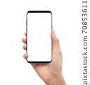 Isolated human right hand holding black mobile white screen smartphone 70853611