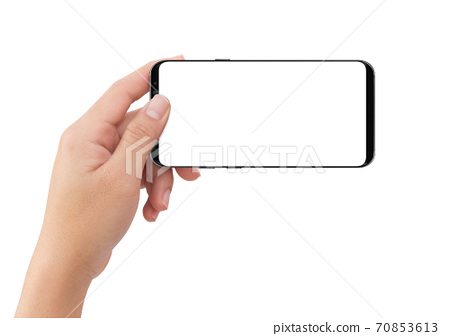 Isolated human left hand holding black mobile white display smartphone 70853613