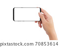 Isolated human right hand holding black mobile white display smartphone 70853614