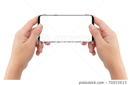 Isolated human two hands holding black mobile white display smartphone 70853615