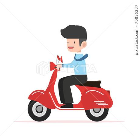 businessman drives to work Flat design 70855237
