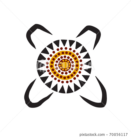 Aboriginal art dots painting icon logo design template 70856117