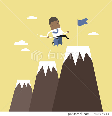 African businessman climbing up mountains or cliffs and moving to final destination point. 70857533
