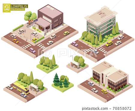 Vector isometric buildings and street elements 70858072