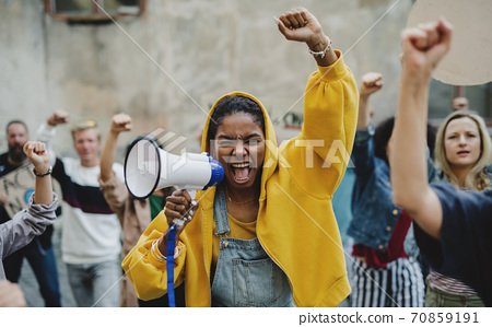 Group of people activists protesting on streets, BLM demonstration and coronavirus concept. 70859191