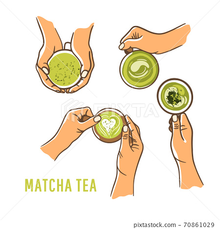 Set of woman hands holding cup green matcha white background. Top view, flat lay. Dairy free food concept 70861029