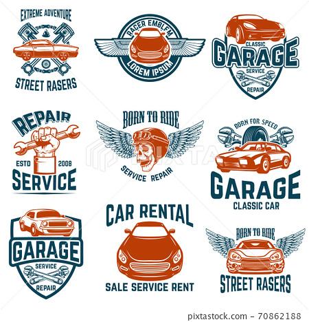 Car repair, garage, auto service emblems. Design elements for logo, label, sign. 70862188