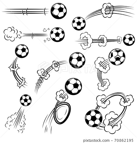 Set of football, soccer balls with motion trails in comic style. Design element for poster, banner, flyer, card. 70862195