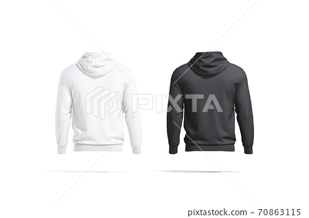 Blank black and white hoodie with hood mockup, back view 70863115