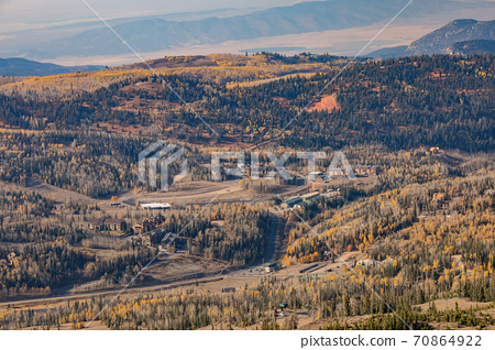 High angle sunny view of beautiful fall color around Brian Head area 70864922