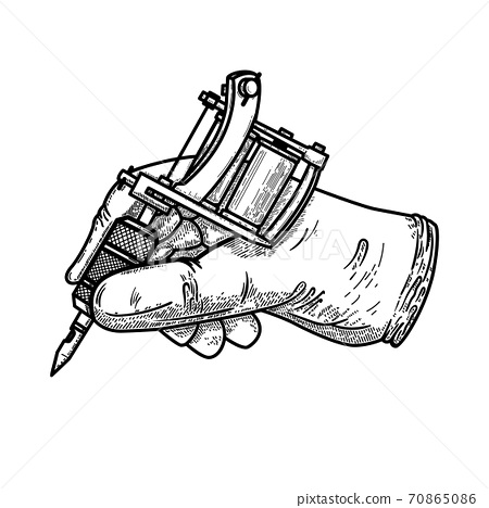 Hand with tattoo machine. Design element for poster, card, t shirt, emblem, sign. 70865086