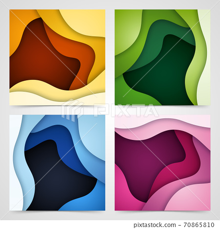 Set of 3D abstract background and paper cut shapes, vector illustration 70865810