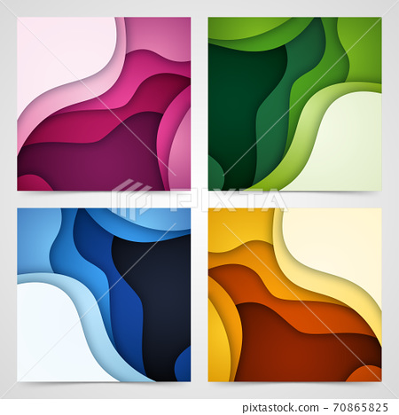 Set of 3D abstract background and paper cut shapes, vector illustration 70865825