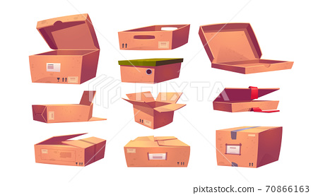 Empty cardboard boxes different shapes 70866163