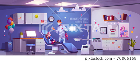 Dental room for kids with girl in chair and doctor 70866169